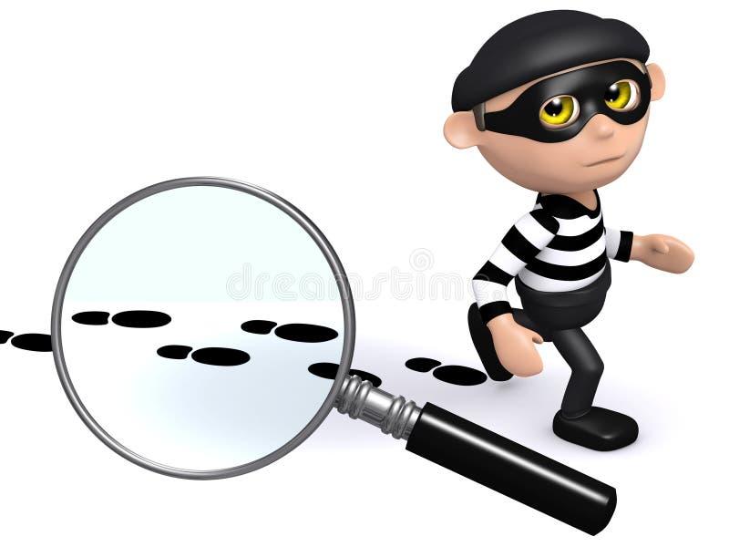 3d夜贼留下证据足迹  库存例证