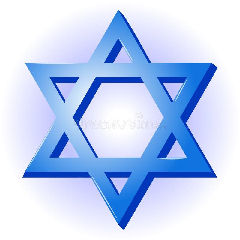 3d大卫例证星形 所罗门象封印您的设计的在动画片样式的蓝色背景以色列的美国独立日 Vect 库存例证