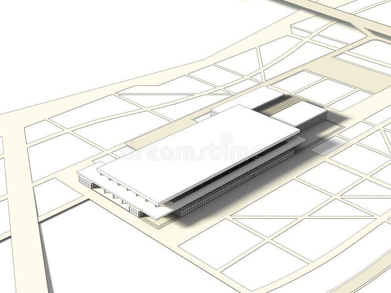 3D大厦的wireframe概念 皇族释放例证