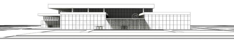 3D大厦wireframe翻译  向量例证