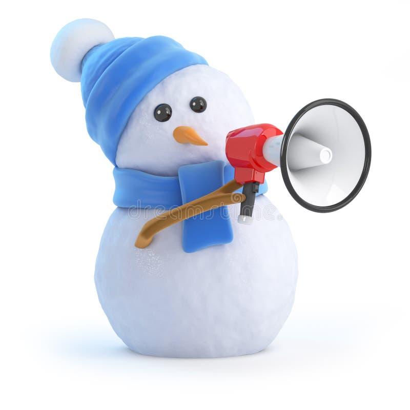 3d大声的雪人 向量例证