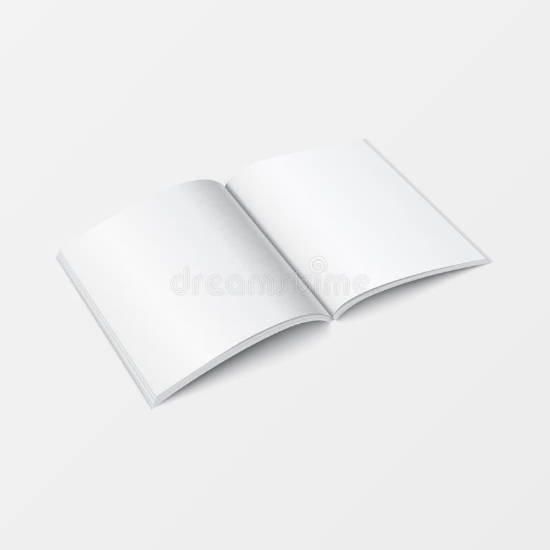 3d大模型开放书模板透视图 在打印的设计白色背景隔绝的小册子空白的白色颜色 向量例证
