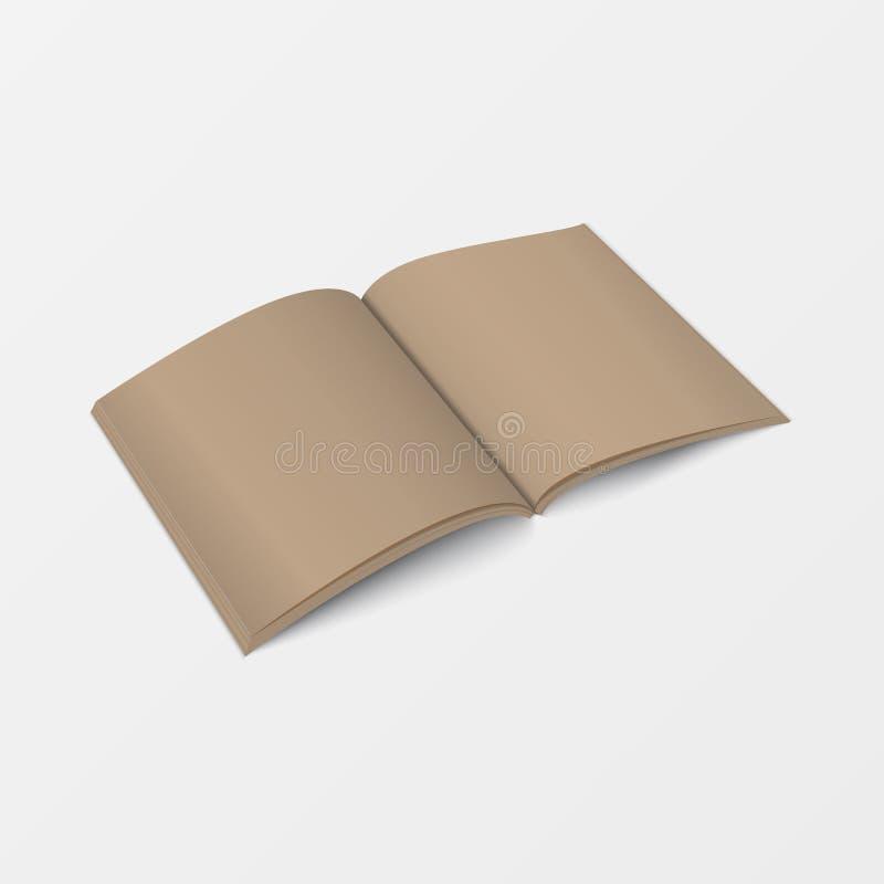 3d大模型开放书模板透视图 被回收的纸张 在打印的白色背景隔绝的小册子空白的棕色颜色 库存例证