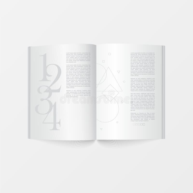 3d大模型开放书模板顶视图 在打印的设计白色背景隔绝的小册子白色颜色 皇族释放例证