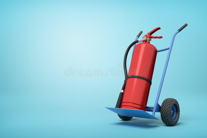 3d大红火灭火器翻译在在浅兰的背景的半轮站立的蓝色手推车的 向量例证
