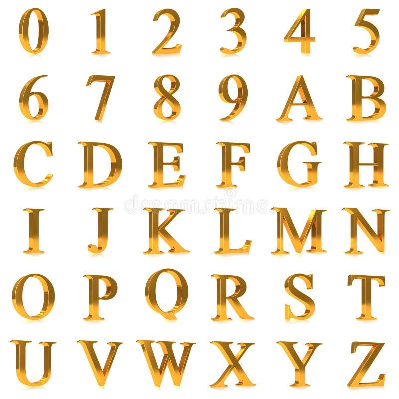 3d大胆的金子信件和数字 库存例证