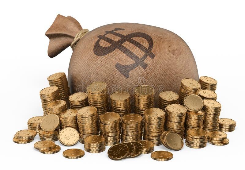 3D大袋金钱和硬币 库存例证