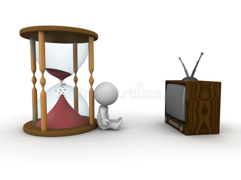 3D失去时间的线索人看电视 库存例证