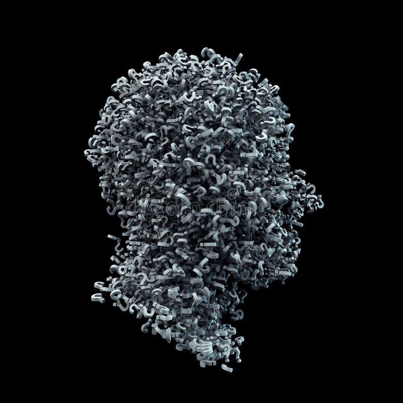 3D头形状由白色问号做成 皇族释放例证