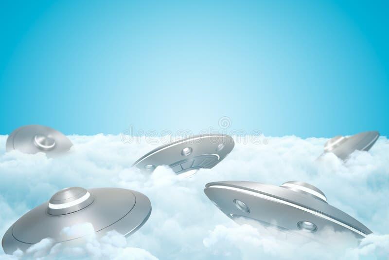 3d套翻译在白色蓬松云彩厚实的层数的UFOs与上面天空蔚蓝的 向量例证