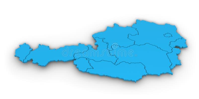 3D奥地利地图蓝色形状 向量例证