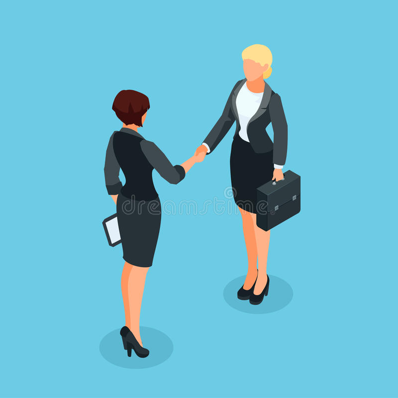3d女实业家取得了协议并且完成了成交机智 向量例证