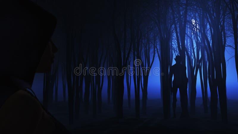 3D女性看的生物在有雾的森林里 向量例证