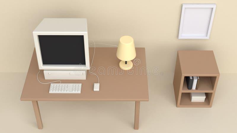 3d奶油色工作室桌计算机顶视图动画片样式3d回报 向量例证