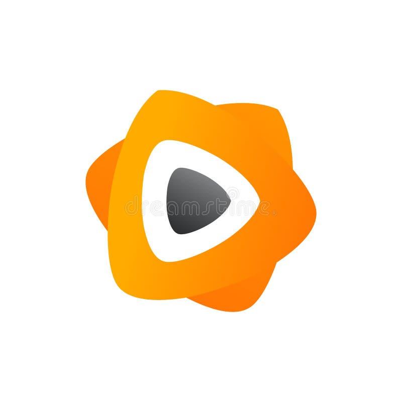 3D媒介戏剧商标设计 五颜六色的3D媒介戏剧商标传染媒介模板 媒介演奏与3D样式设计传染媒介的概念 库存例证