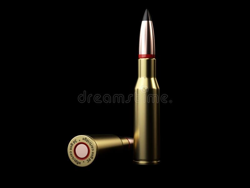 3d子弹的例证在黑背景的 皇族释放例证