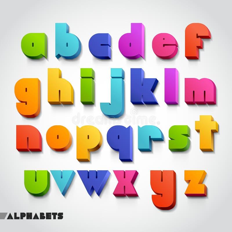 3D字母表五颜六色的字体风格。 向量例证