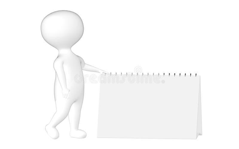 3d字符、人和一个空的日历/笔记薄 库存例证