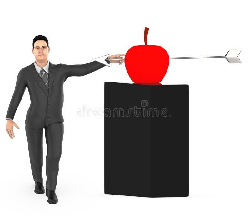 3d字符、人和一个苹果与箭头在它的中心击中了 向量例证