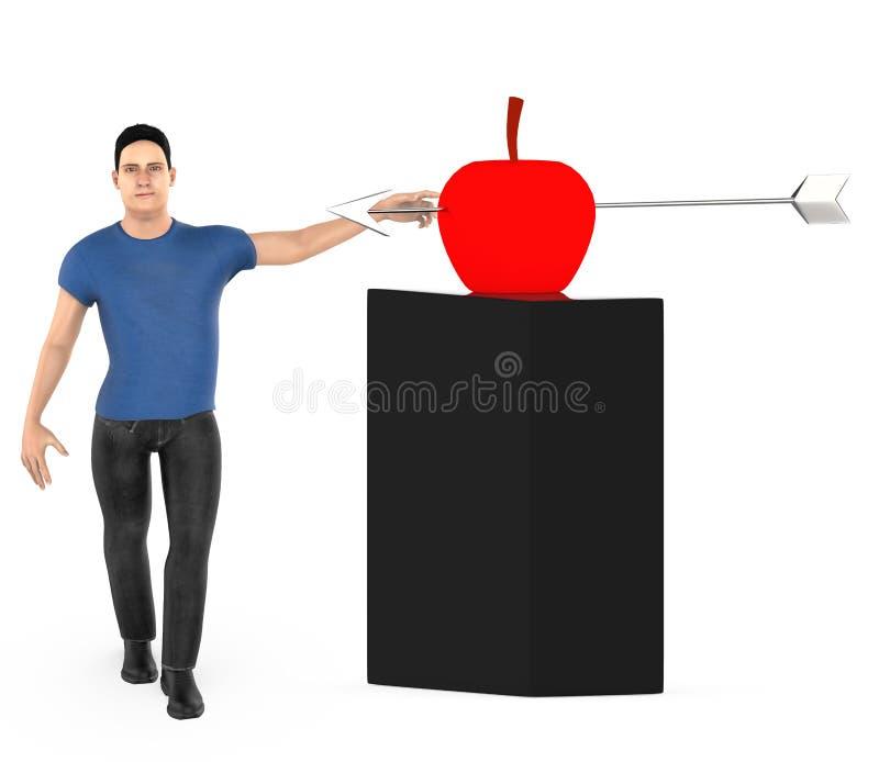 3d字符、人和一个苹果与箭头在它的中心击中了 皇族释放例证