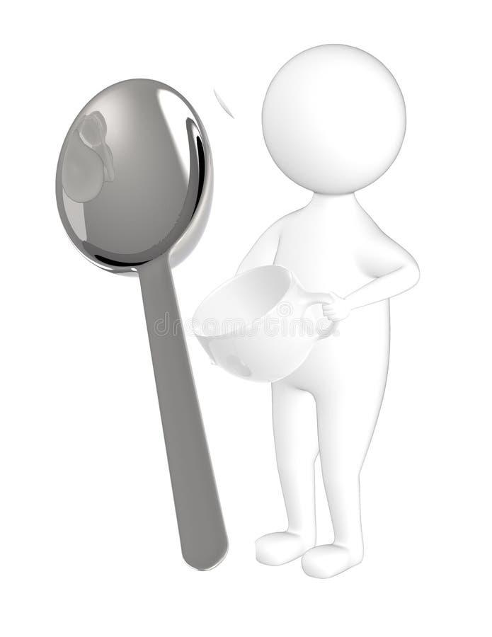 3d字符、人有一个空的杯子的和匙子 皇族释放例证