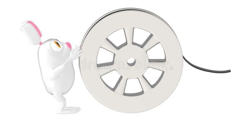 3d字符、兔子和影片轴 向量例证