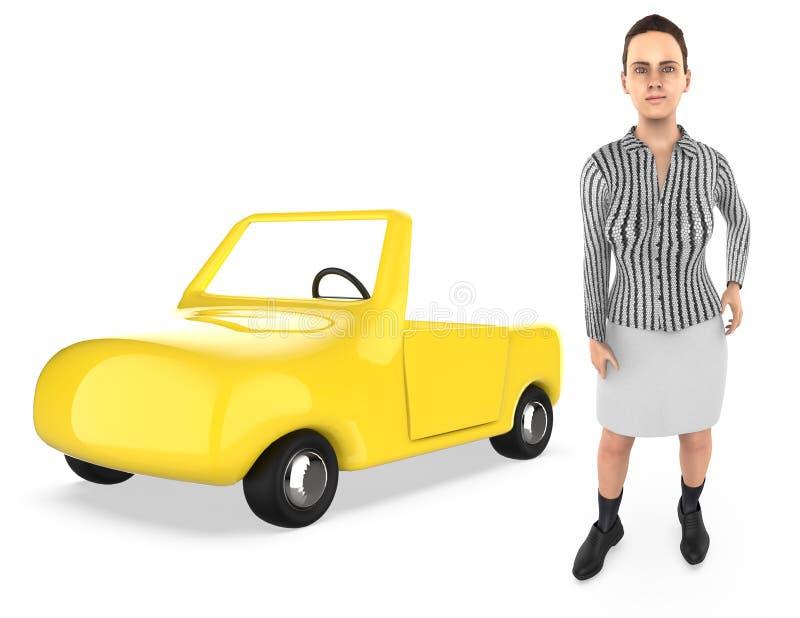 3d字符、妇女和汽车 向量例证