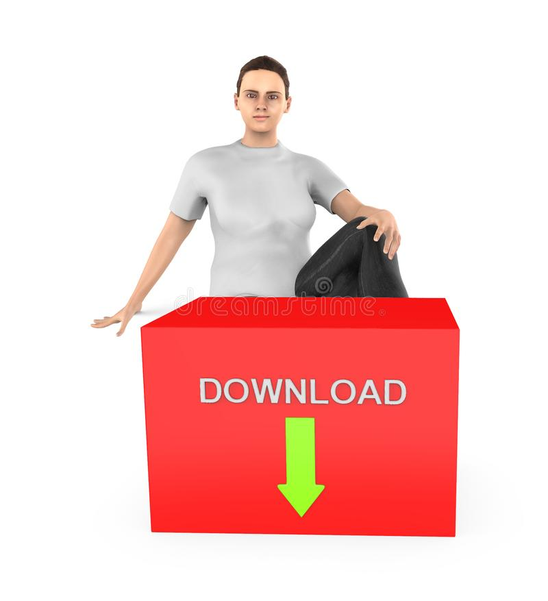 3d字符、妇女坐近到有下载文本的一个红色箱子的和在它的向下被安置的绿色箭头 向量例证