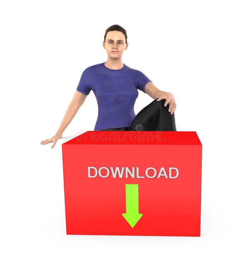 3d字符、妇女坐近到有下载文本的一个红色箱子的和在它的向下被安置的绿色箭头 皇族释放例证