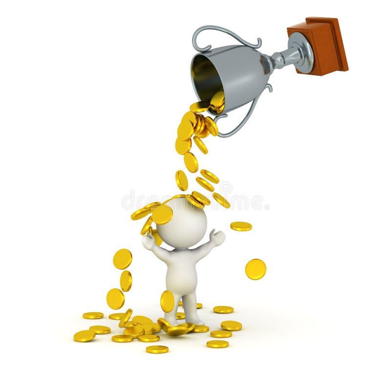 3D字符、战利品和金黄硬币 库存例证