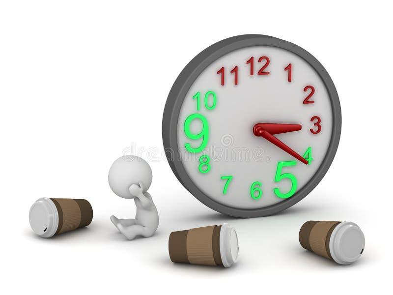 3D字符在与时钟和咖啡的晚小时 皇族释放例证
