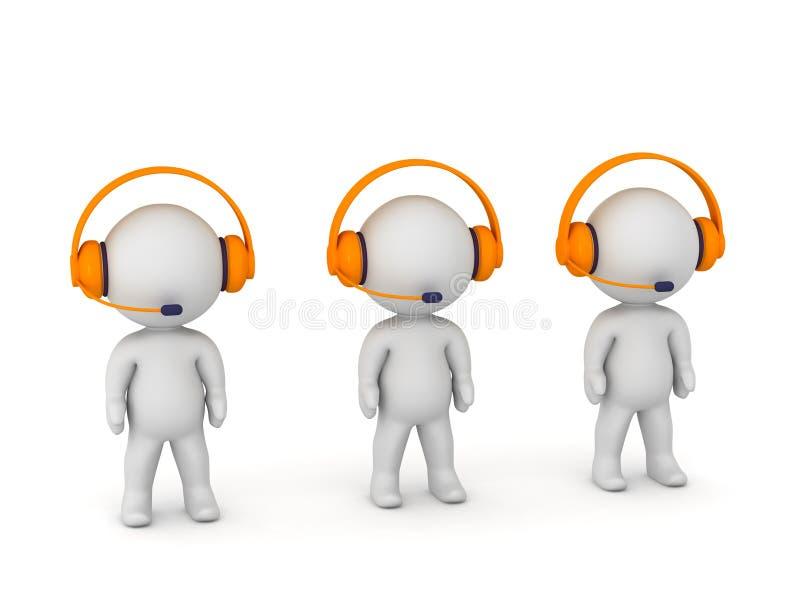 3D字符在与耳机和话筒的电话中心 库存例证