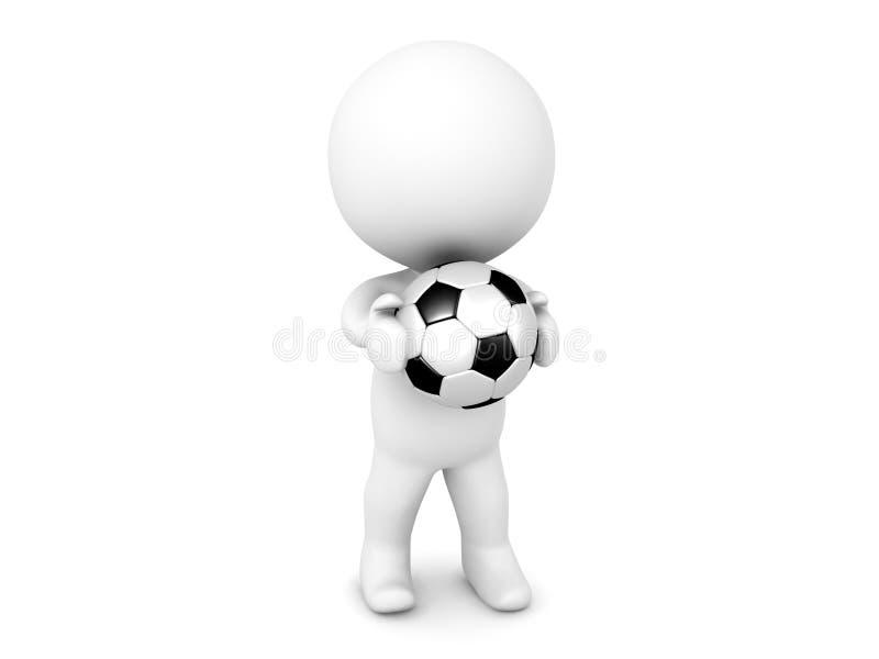 3D字符在他的手上的举行足球橄榄球 向量例证