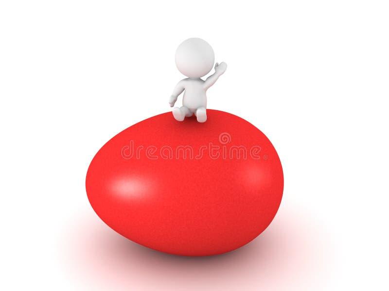 3D字符坐大红色复活节彩蛋 向量例证