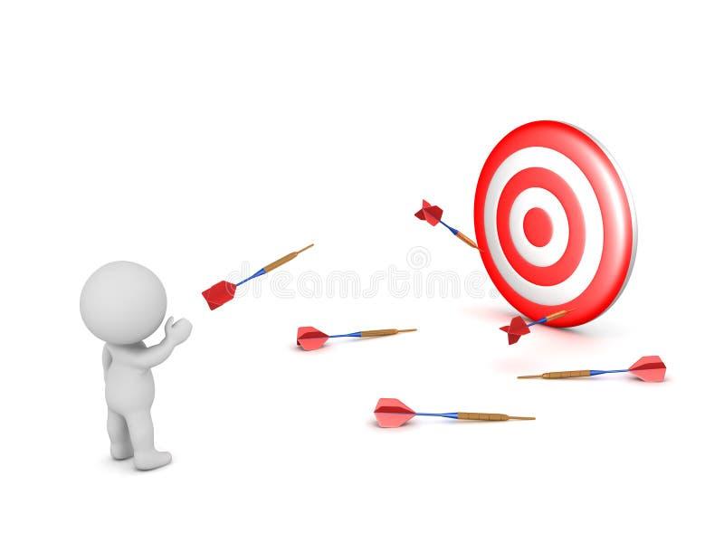 3D字符投掷的箭和失踪目标 皇族释放例证