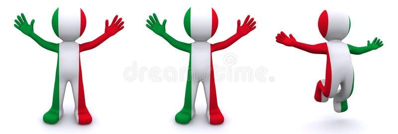 3d字符构造与意大利的旗子 向量例证