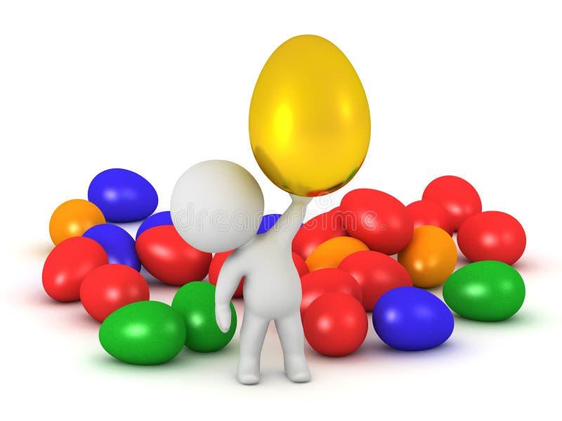 3D字符用复活节彩蛋 向量例证
