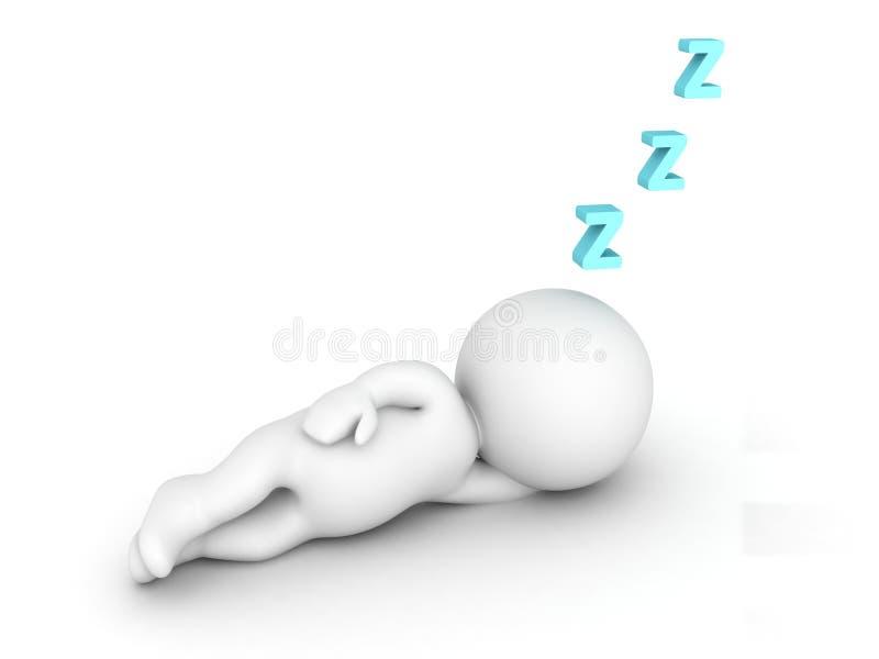 3D字符睡觉和Z信件 向量例证