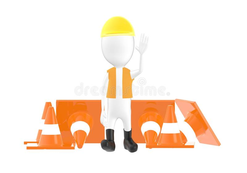 3d字符,人工作者,官员陈列中止姿态,当站立近交易锥体时 皇族释放例证