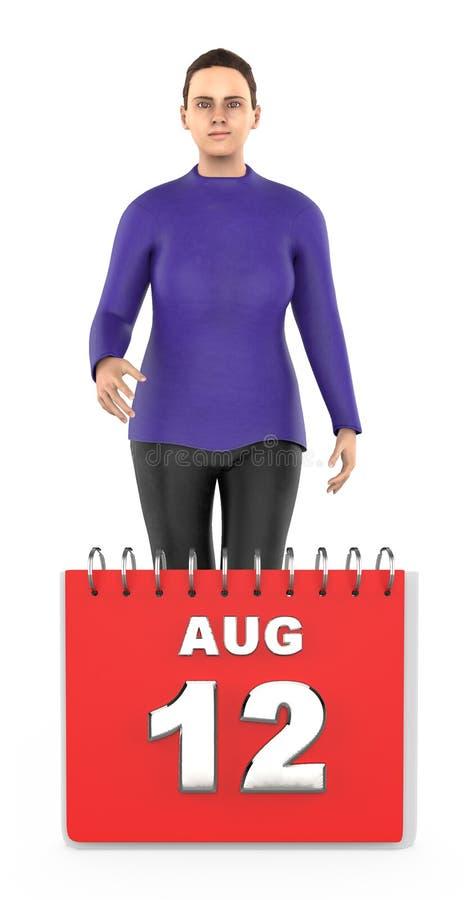 3d字符,妇女,微笑的常设下本o威严的12日历 向量例证