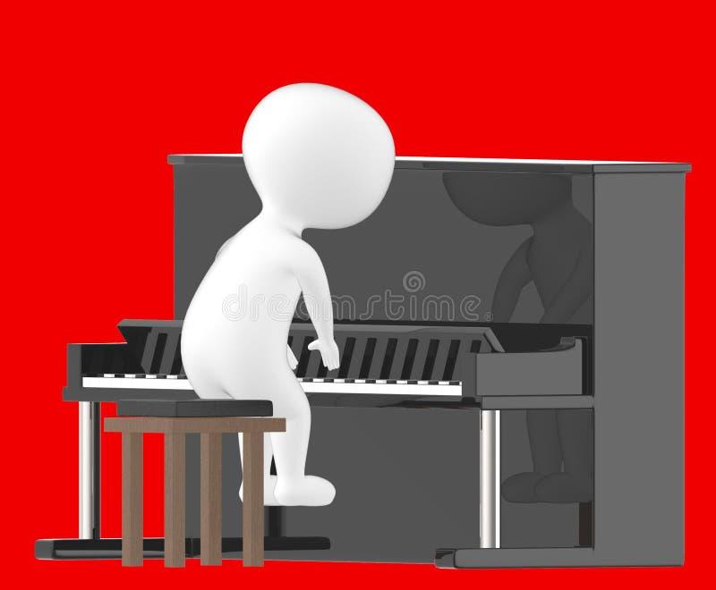 3d字符,弹钢琴的人 向量例证