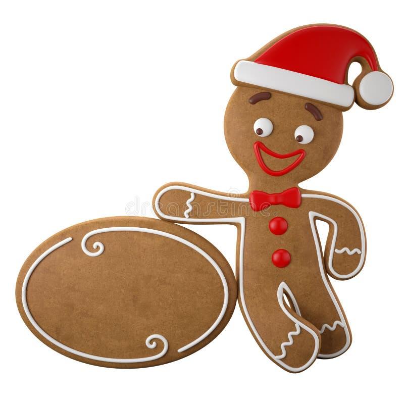 3d字符,快乐的姜饼,圣诞节滑稽的装饰, 库存例证