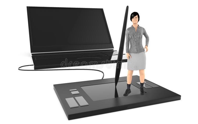 3d字符,站立在一个大图形输入板和倾斜往铁笔的妇女,在对一大latop附近 库存例证