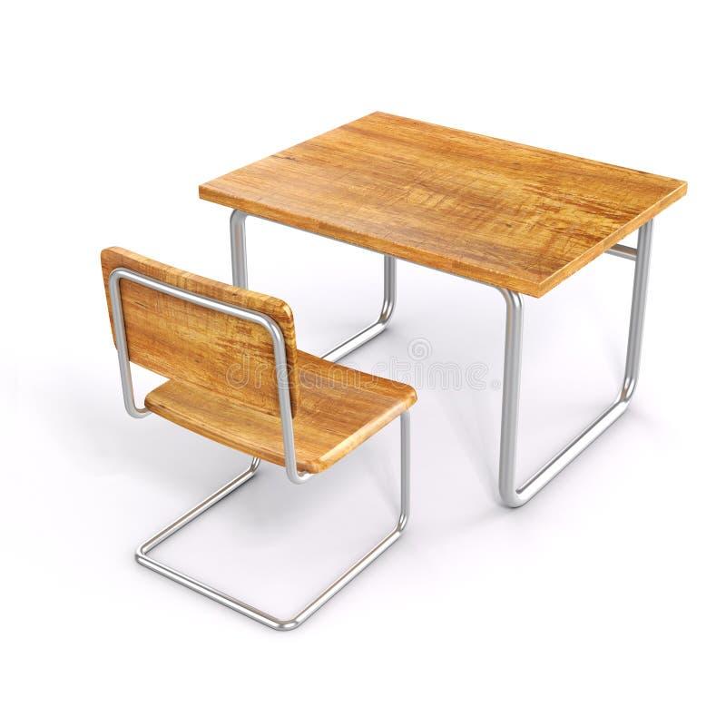 3d学校书桌和椅子 库存例证