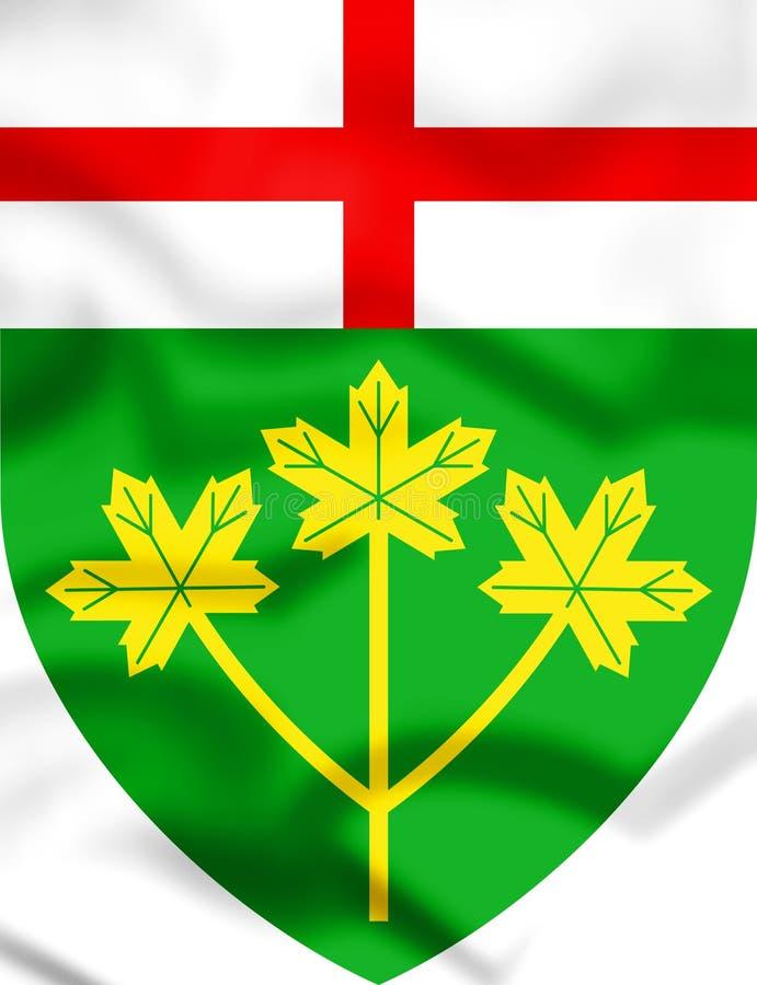 3D安大略省徽章,加拿大 向量例证