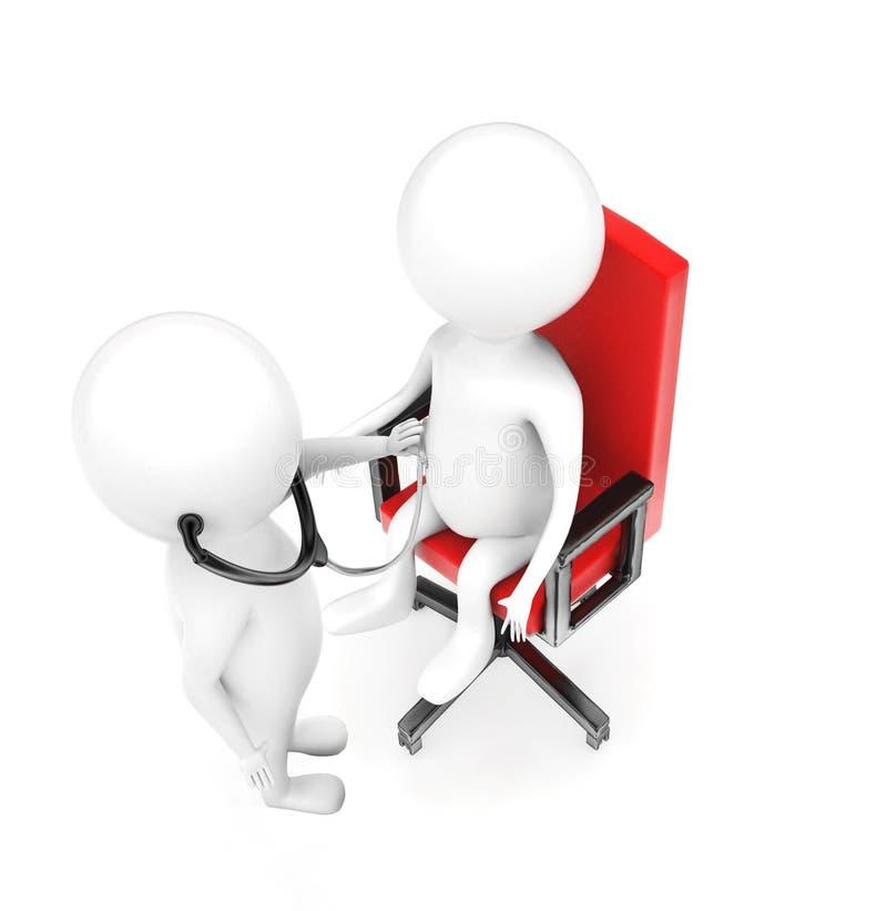 3d审查另一个字符的医疗字符坐椅子 皇族释放例证