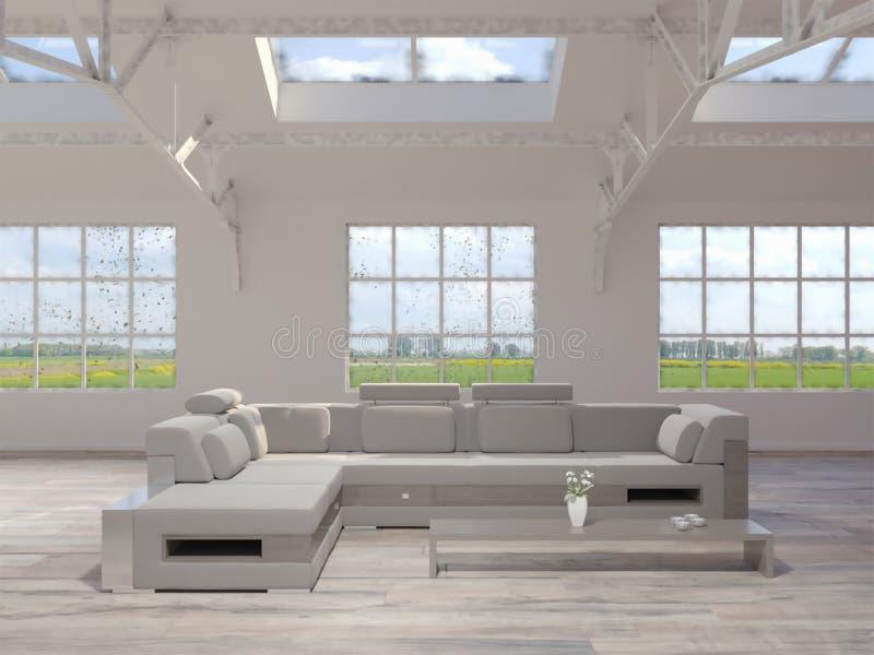 3d客厅翻译顶楼内部的 库存例证
