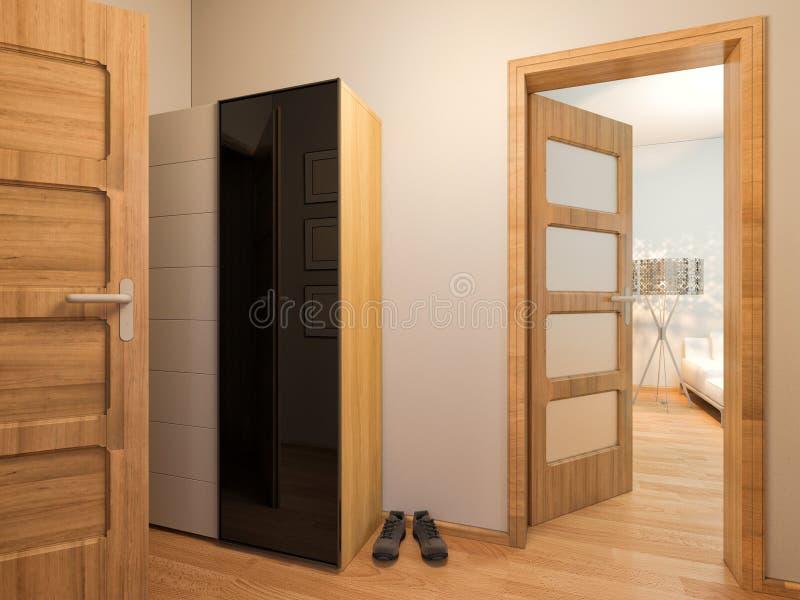 3d室内设计门厅的形象化 向量例证