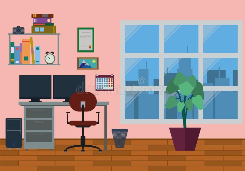 3d家庭内部现代办公室回报 库存例证