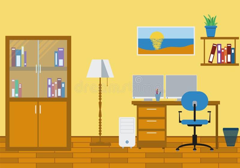 3d家庭内部现代办公室回报 向量例证